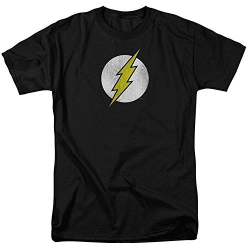 The Flash Lightning Bolt Distressed Logo BLACK Adult T-Shirt(XX-Large)