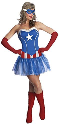 Women's Captain America Tutu Dress with Eye Mask
