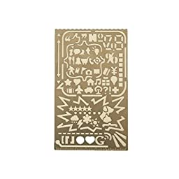 Sayhi Portable All-in-One Stainless Steel 60 Apertures Stencil Drawing Template Number Alphabet Icon Tool Diy Photo Album Accessories Ruler