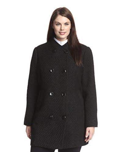 Ellen Tracy Plus Women's Double-Breasted Boucle Coat  [Black]