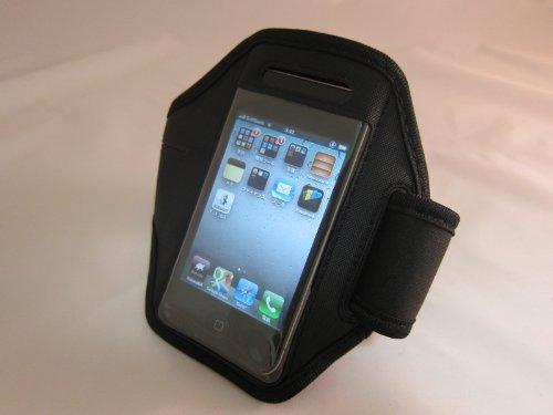 iPhone5 スポーツアームバンド ランニング アイフォンケース 鍵 小物入れ付き 各種カラー (ブラック)