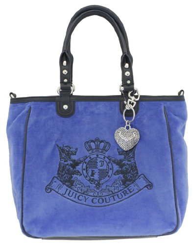 Juicy Couture Scottie Embroidery Tote Velour Handbag Blue Azure
