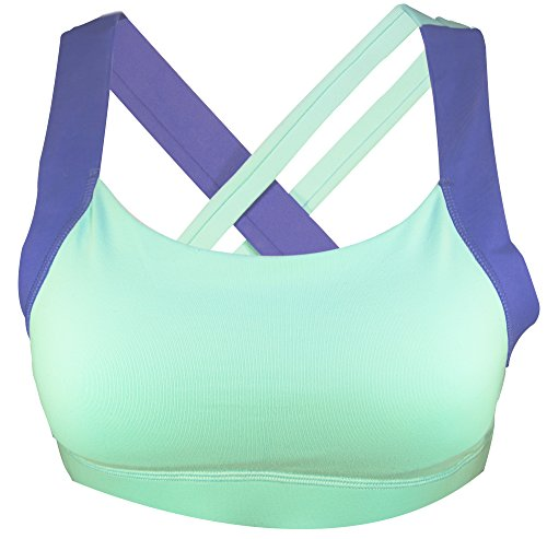 STRYK Women's Premium Active Support Yoga Crossfit Gym Synergy Sports Bra ... (Large, Blue)