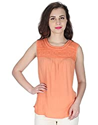 Miway Women's Embroided Viscose Peach Top (Pink, X-Small)