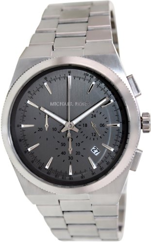 Michael Kors Mk8337 Channing Grey Silver Chrono Date Dial Steel Men Watch New