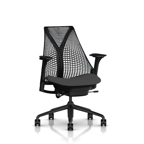 SAYL Chair by Herman Miller - Fully Adjustable Arms and Seat - Slate grey Back, Black Arms, Graphite Seat, Black Frame and Base