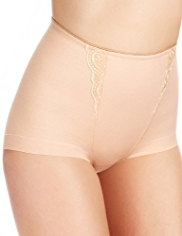 Firm Control Embroidered Low Leg Selvedge Knickers