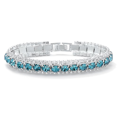 Palm Beach Jewelry - Silvertone Birthstone & Crystal Tennis Bracelet - December Simulated Blue Topaz