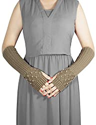 Dahlia Women's Fingerless Arm Warmers Gloves - Pearl Lattice Medium - Khaki