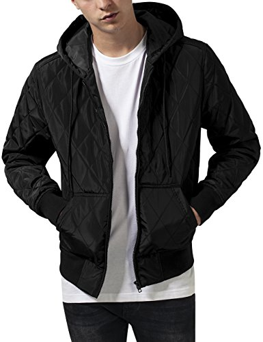 Urban Classics Hooded Big Diamond Quilt Jacket, Giacca Uomo, Nero (Black 7), X-Large