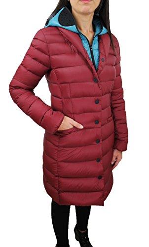 Piumino donna AI Riders On The Storm bordeaux giubbotto lungo Parka invernale chiusura completa con cappuccio e lenti (44)