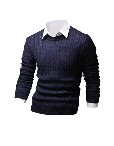 Tom'S Ware Mens Casual Crisp Cable Knit Sweater Twnwm315N-Navy-M (Us S) front-624169