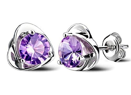 Sterling Silver Purple Austria Crystal Stud Earrings