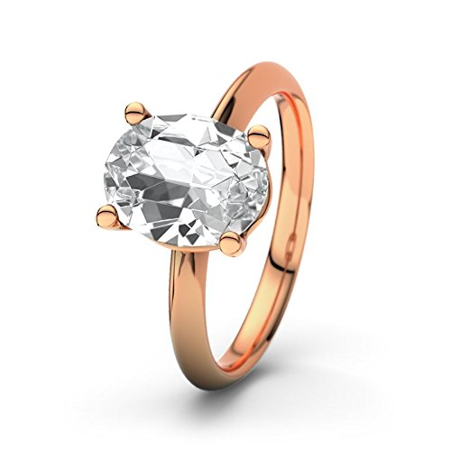 21DIAMONDS Courtney White Topaz Brilliant Cut Women's Ring 14 Carat 585 Red Gold Engagement Rings