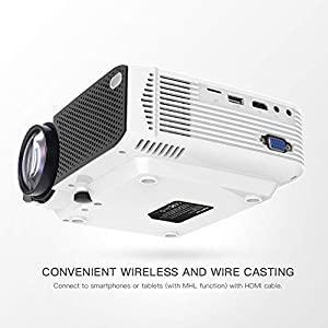 Projector APEMAN Video Mini Portable Projector 3500 Lumen with Dual Built-in Speakers 45000 Hours LED Life Support HD 1080P HDMI/VGA/TF Card/AV/USB/PS