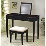 Cappuccino Flip Top Vanity Table Set - Coaster 300080
