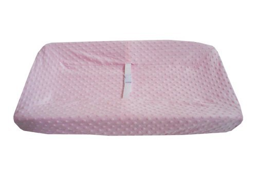 American Baby Company Heavenly Soft Minky Dot Fitted Contoured Changing Pad Cover, Pink Puff Color: Pink Puff Newborn, Kid, Child, Childern, Infant, Baby front-546185