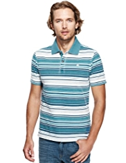 North Coast Pure Cotton Striped Piqué Polo Shirt