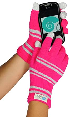 Womens texting glove for iPhone, iPad all touch screen devices, Pink