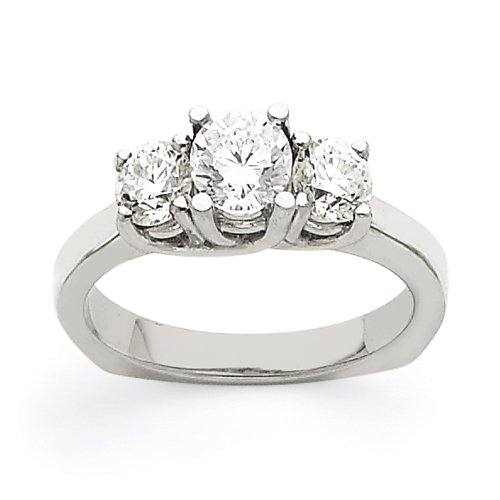 14k White Gold AA Diamond three stone ring Diamond quality AA (I1 clarity, G-I color)