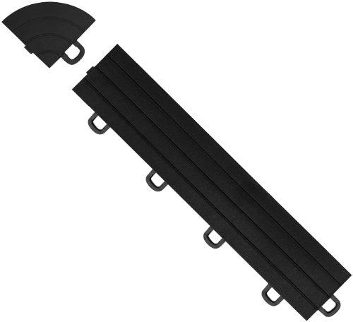 BlockTile R1US4212 Interlocking Ramp Edges with Loop, Black, 14-Pack
