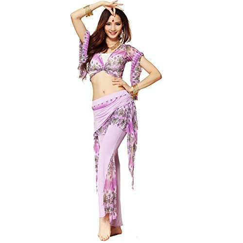 Pilot-trade Peacock Pattern Belly Dance Costume Practice Set Bra Top and Pant
