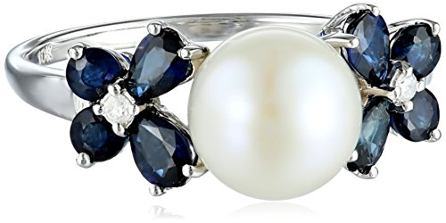 10k White Gold Sapphire, Freshwater Cultured Pearl and Diamond Ring (0.03 Cttw, G-H Color, I2-I3 Clarity), Size 8