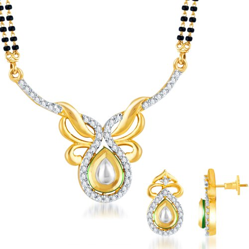 Sukkhi Kundan-CZ Gold and Rhodium plated Indian Wedding Mangal Sutra Set For Women (yellow)
