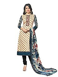 Inddus Women Blue & Cream Printed Handloom Cotton Dress Material