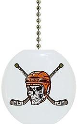Orange Hockey Skull Solid Ceramic Fan Pull