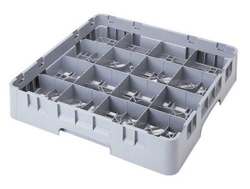 Cambro 16C258151 Camrack Polypropylene Cup Rack With 16 Compartments, Full, Soft Gray