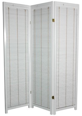 Three Panel Wooden Shutter Screen in White Height: 5'