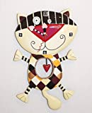 Heart of Checkers Cat Clock Allen Designs Enesco Gift