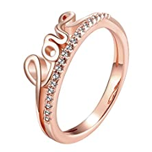 buy Adina R171B Love Zircon Pink 18K Rose Gold Plated Ring