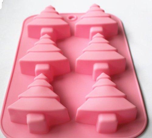 Dgi Mart Party Supplies 6-Cavity Christmas Tree Shaped Ice Cake Chocolate Sugar Silicone Mini Cube Craft Fondant Mold Tray(Send By Random Colour) front-581763