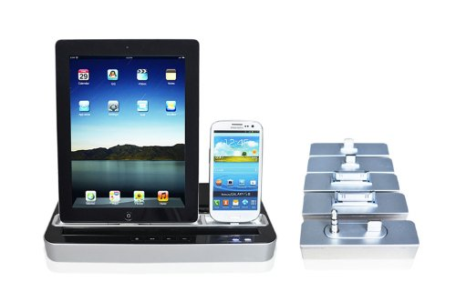 Techno S - Ipega 2 In 1 Charger Speaker Dual Dock Station For Smartphones And Tablets: Iphone, Ipad, Ipod, Galaxy, Silver