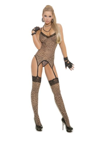 Sexy Leopard Print Camisette, G-String & Stockings Lingerie Set, One Size, Leopard