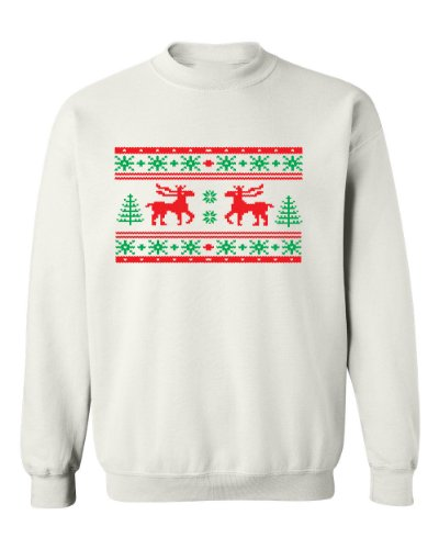 Festive Threads Ugly Christmas Sweater (Moose Design) White Adult Sweatshirt (3-Xl)