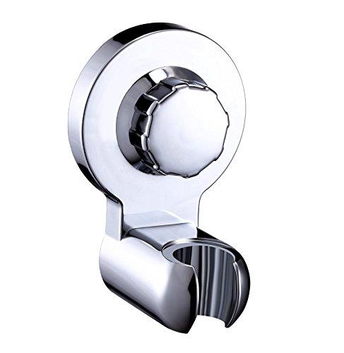 HASKO accessories - Powerful Vacuum Suction Cup Shower Heads Holder - Wall Mount Handheld Shower Head Bracket - Bidet Sprayer Holder with Lock for Bathroom - (Chrome)