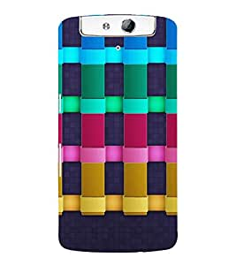 MULTI COLOURED CHECK PATTERN IN A BLUE BACKGROUND 3D Hard Polycarbonate Designer Back Case Cover for Oppo N1