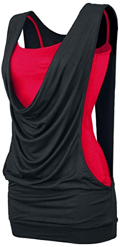 Forplay Open Double Layer Top donna nero/rosso L