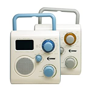 ClearMax All-Weather AM/FM Portable Shower Radio with Alarm Clock - connects to iPod, iPhone or MP3 - Blue