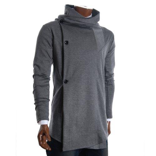 FLATSEVEN Mens Designer Turtleneck Hoodie Unbalanced Long Cardigan Jacket (CL01) Grey