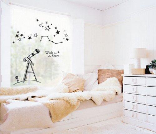 Wall Decoration Graphic Vinyl Sticker [Telescope-Lgwst-03-Black] Creates More Accent On Room Walls & Windows.