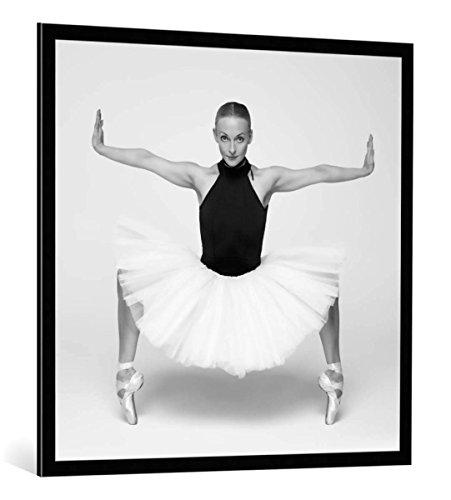 """Quadro con cornice: Piotr Leczkowski """"Natalia"""" - stampa artistica decorativa, cornice di alta qualità, 100x100 cm, nero / angolo grigio"""