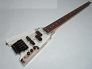 Ktone 4 String Clear Body Lucite Electric Bass Guitar, Headless with Free Gig Bag New by Ktone