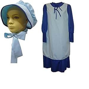 1228 (Medium 10-12, Blue) Schoolgirl Dress Apron & Bonnet Set