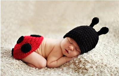 Handmade Lady Bugs Baby Hat Set
