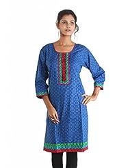 Indiankala4u Cotton Straight Kurta In Ethnic Prints - B00NRTA24U