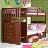 Merlot Twin Over Twin Staircase Bunk Bed